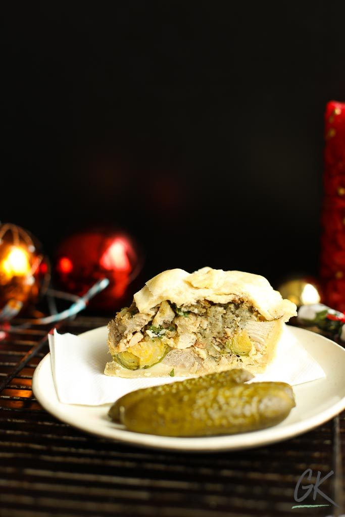 Boxing Day Pie sliced with gherkins