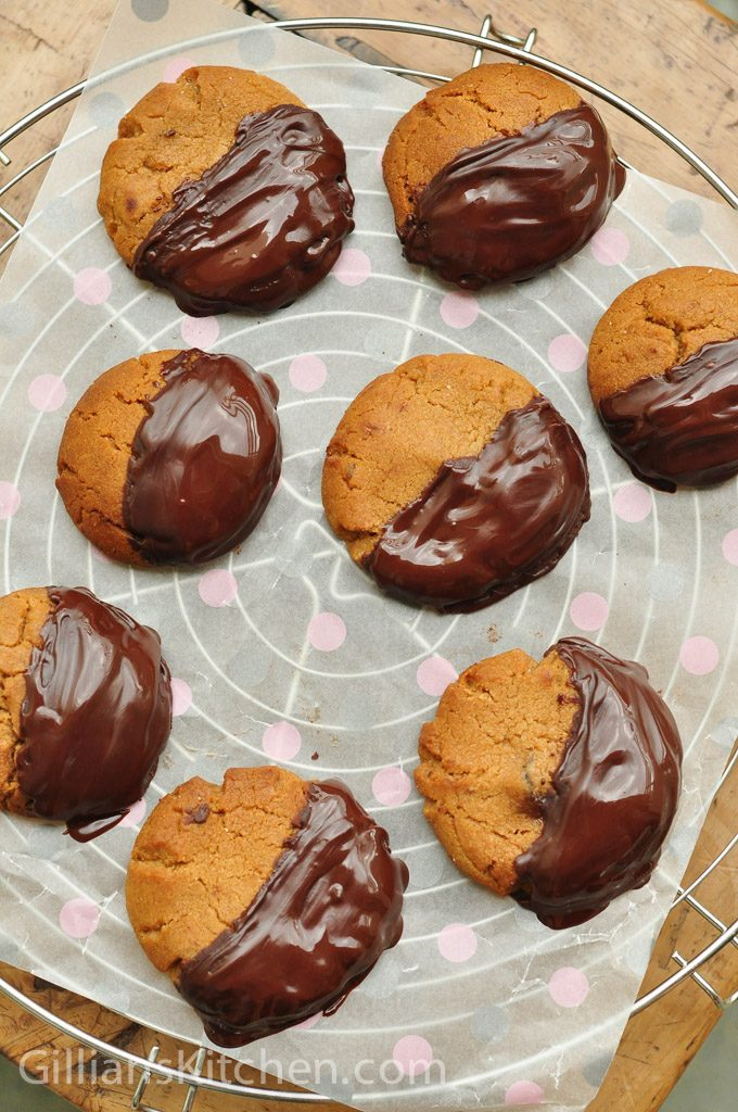 ginger nut biscuits just coated in chocolate