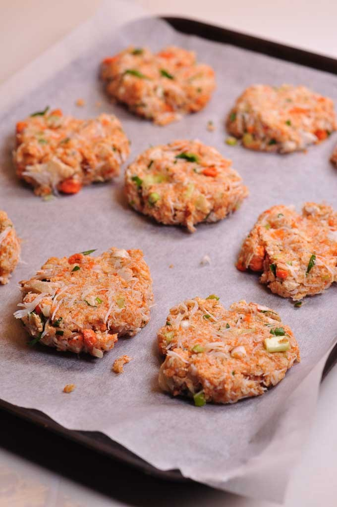 Maryland Style Crab Cake patties on a tray