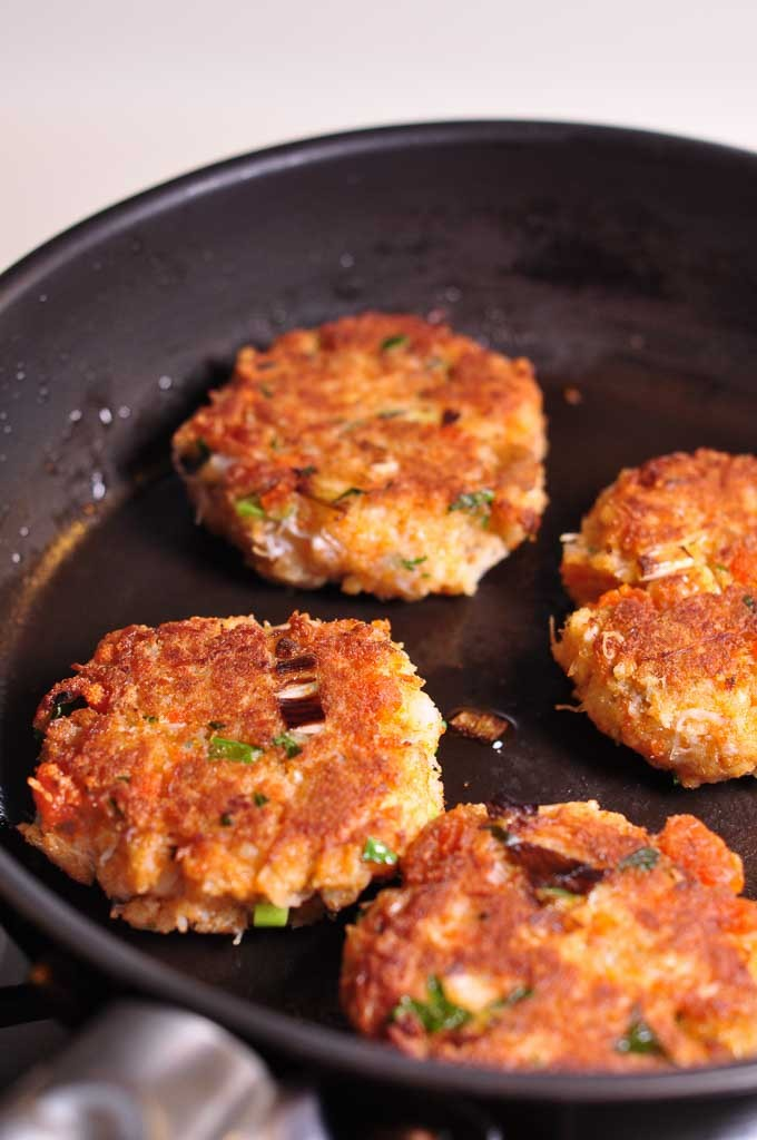 Maryland Style Crab Cakes in frying pan 2