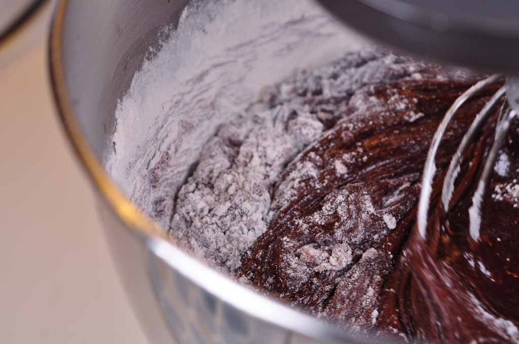 Nigella Chocolate Brownies mixing in the flour