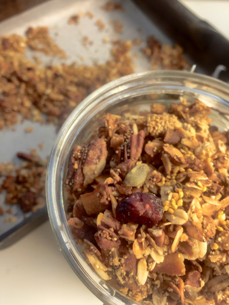 nuts about granola in a jar overhead view