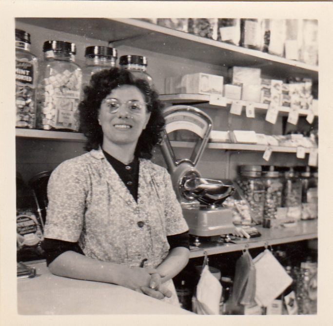 Rita Paolozzi in the family sweet shop