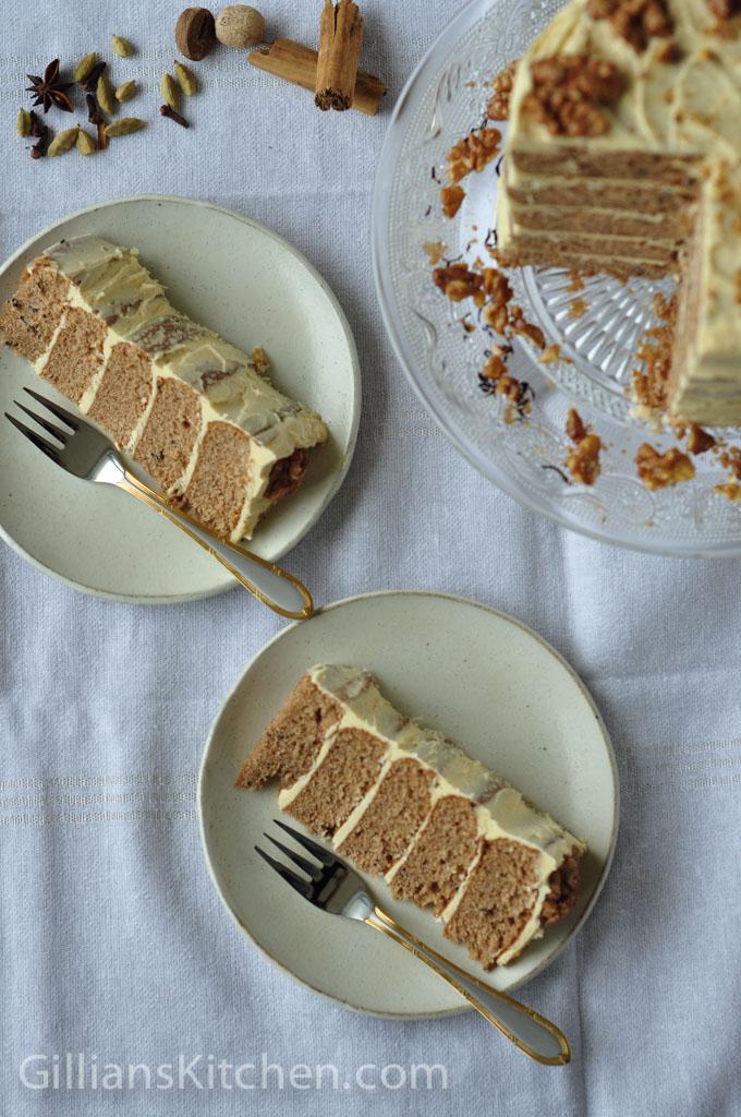 Sliced Masala Chai Walnut cake