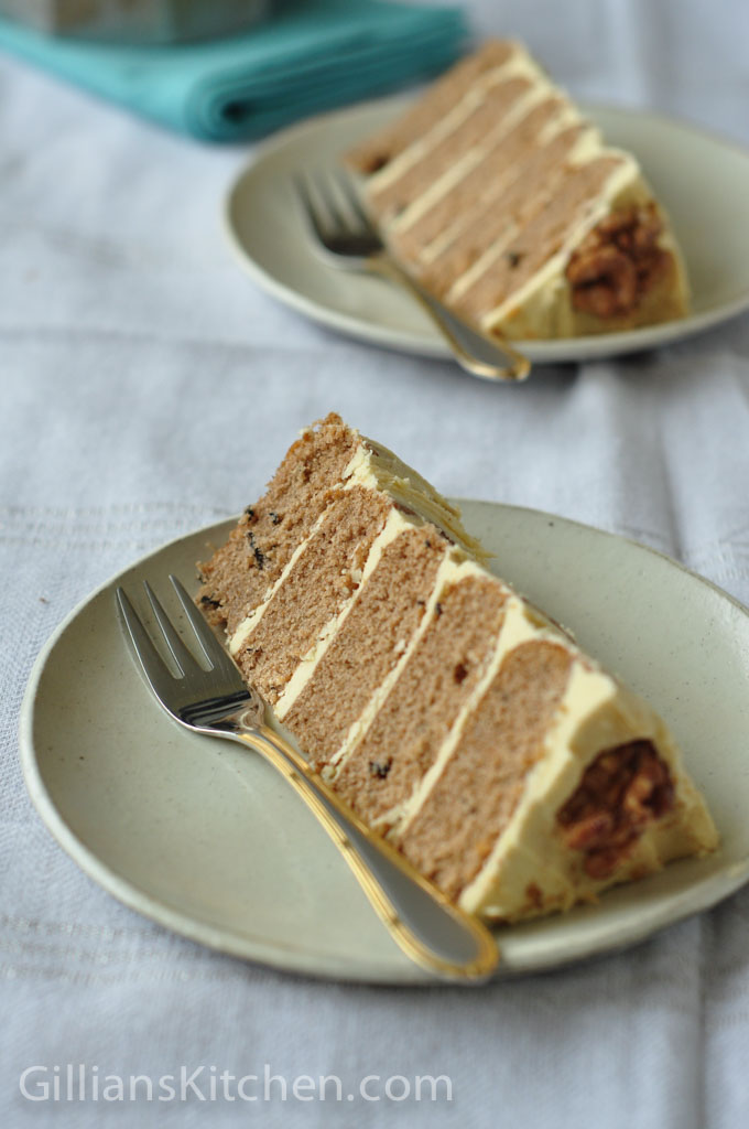 Two slices Masala Chai Walnut cake Close up