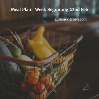 Meal Plan week beg 22nd Feb IG