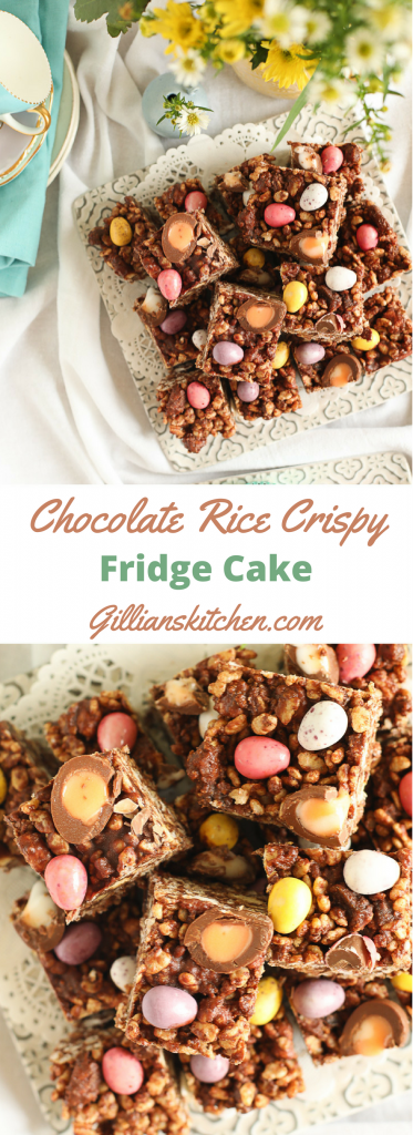 Chocolate Rice Crispy Fridge Cake long pin