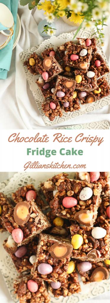 Chocolate Rice Crispy Fridge Cake long pin