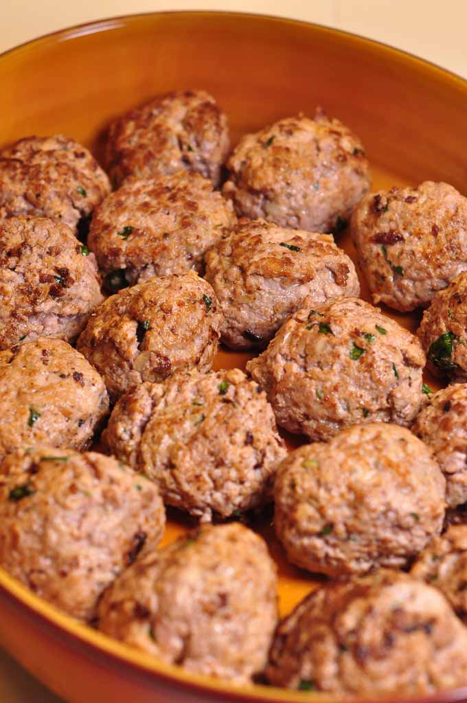 Meatballs in Tomato Sauce browned and in dish