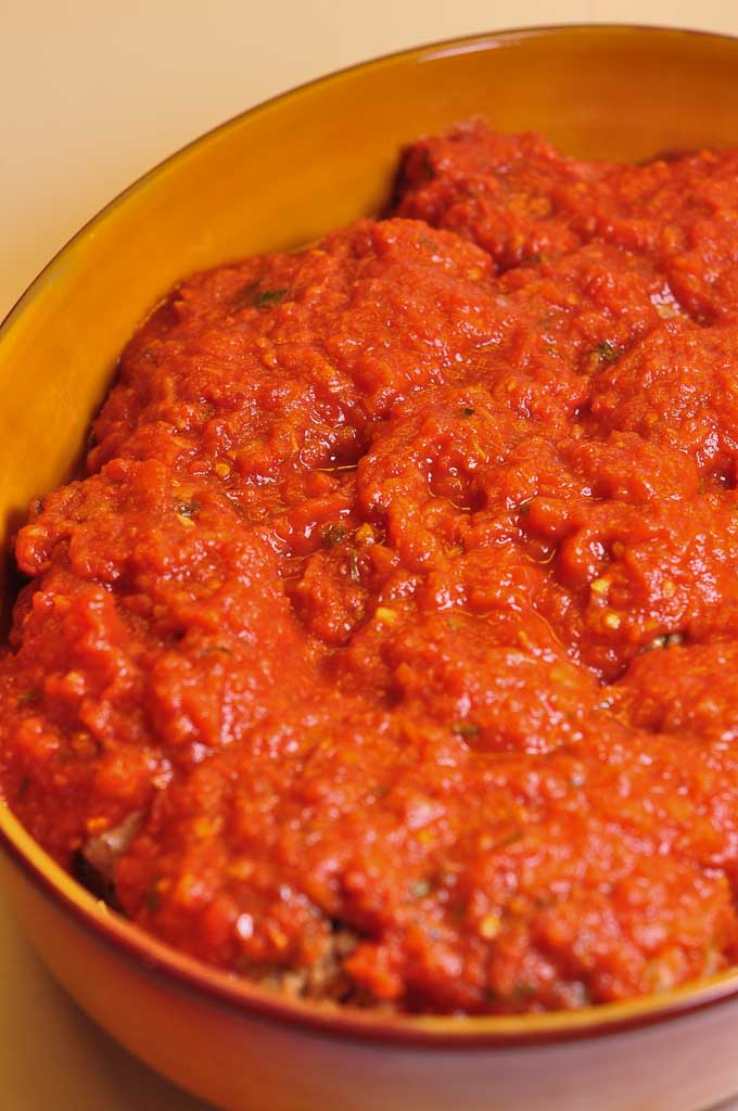 Meatballs in Tomato Sauce ready for oven