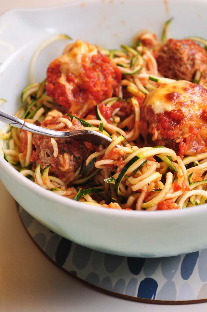 Meatballs in Tomato Sauce with courgetti