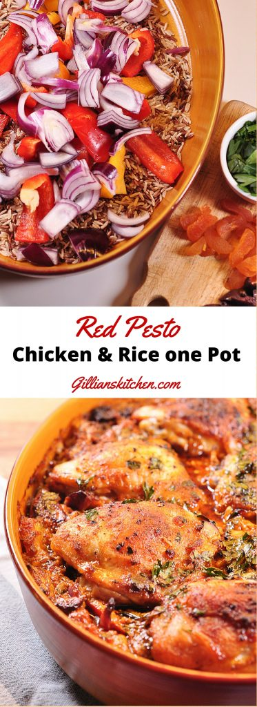 Red Pesto Chicken and Rice one pot long pin