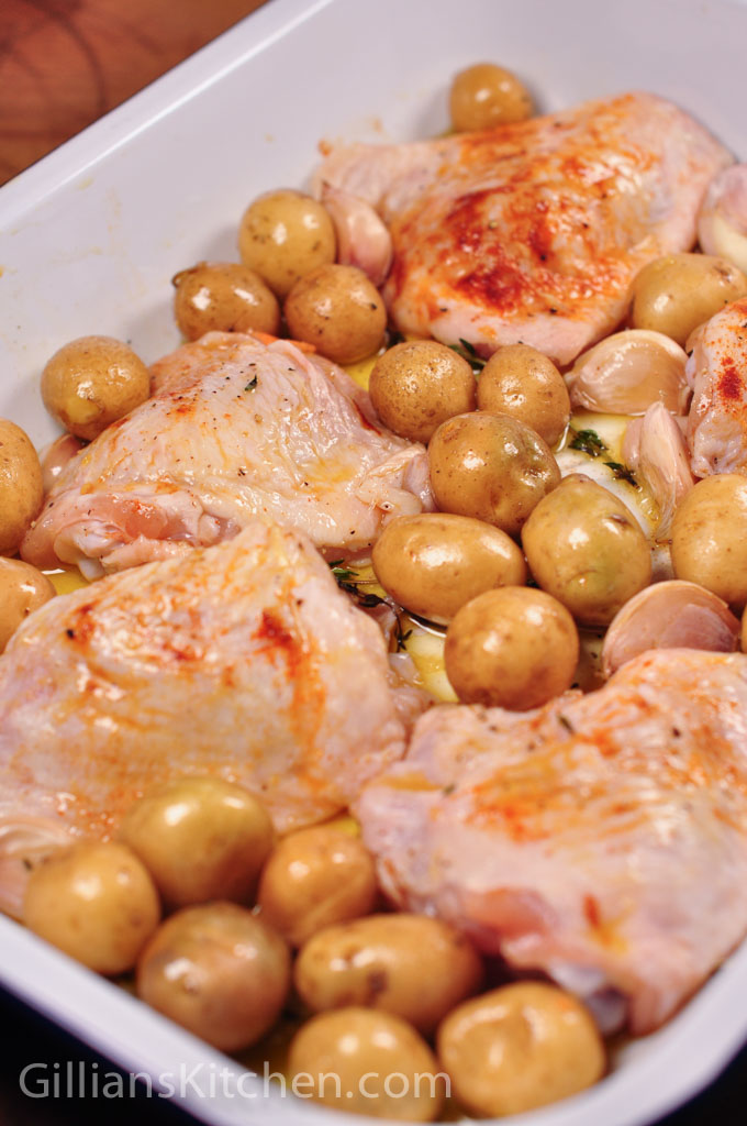 tray baked chicken & potatoes