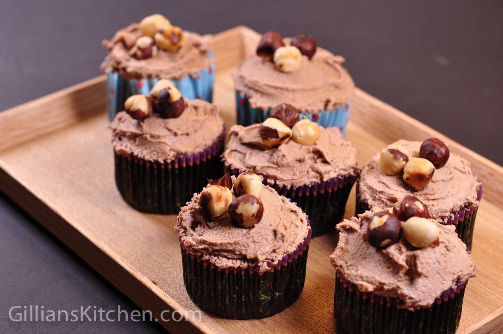 chocolate hazelnut cupcakes on tray