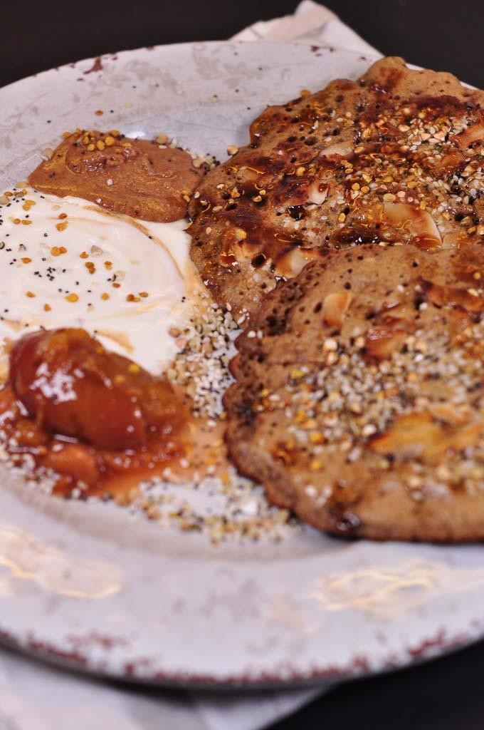 Burmese Pancakes served with yoghurt and stewed fruit 1