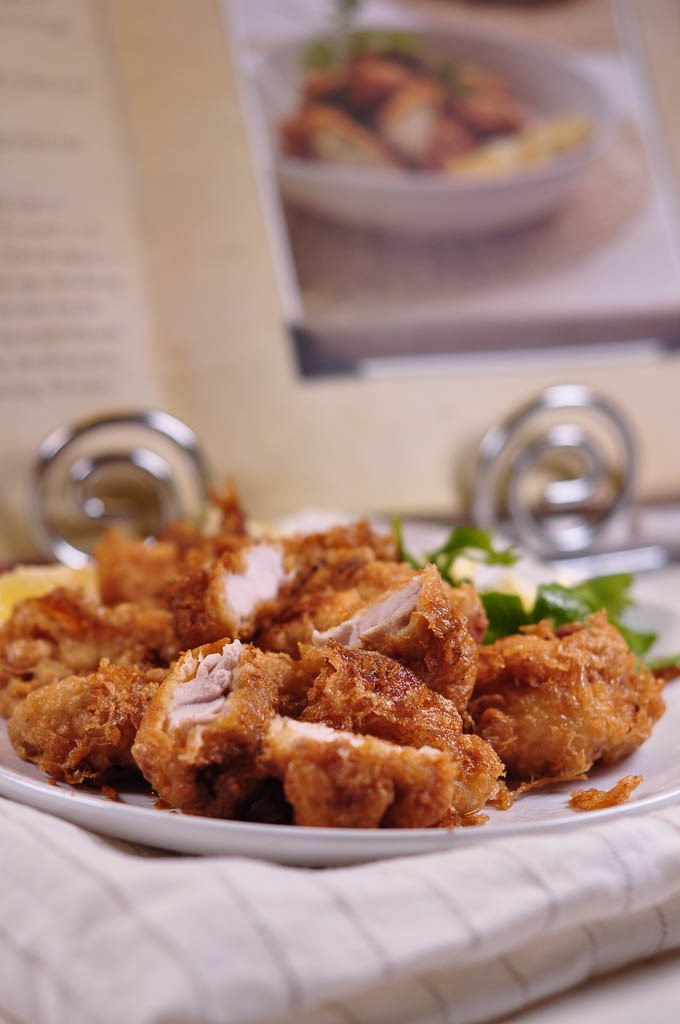 Italian Fried Chicken chicken morsels fried with recipe book
