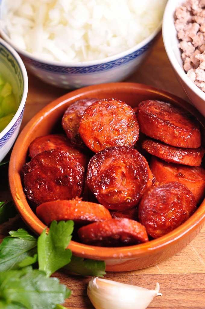 Paolozzi Meat Sauce - browned chorizo set aside