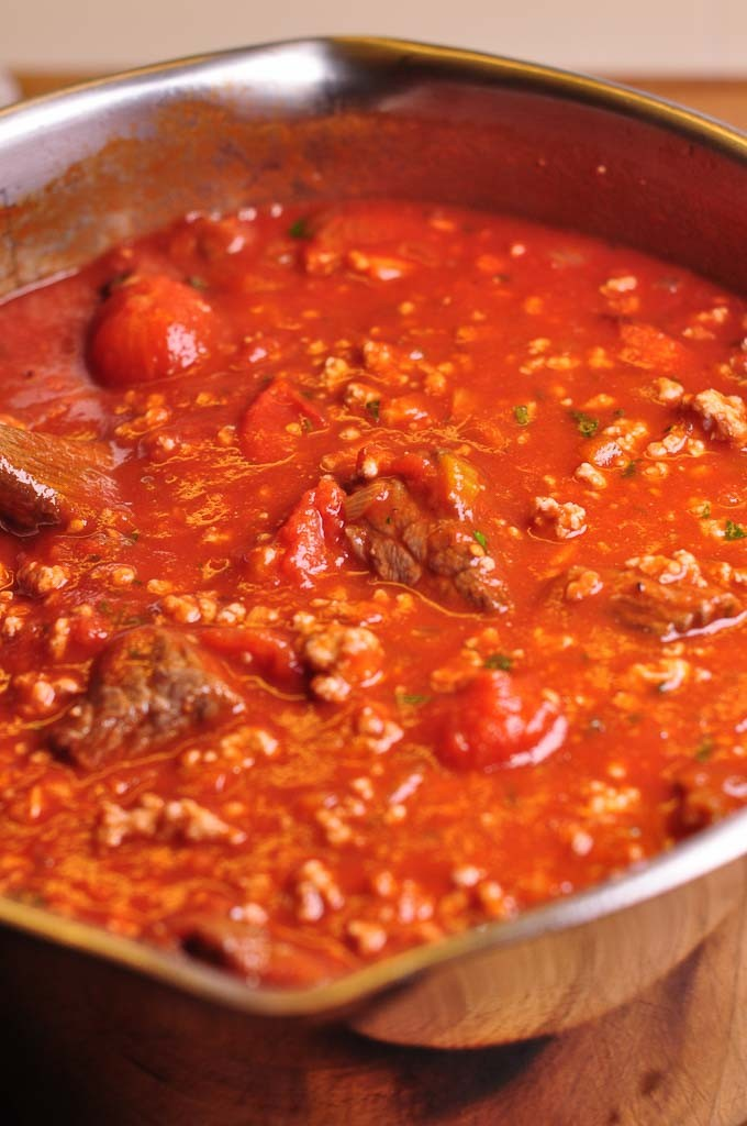 Paolozzi Meat Sauce - add all the meat to the sauce