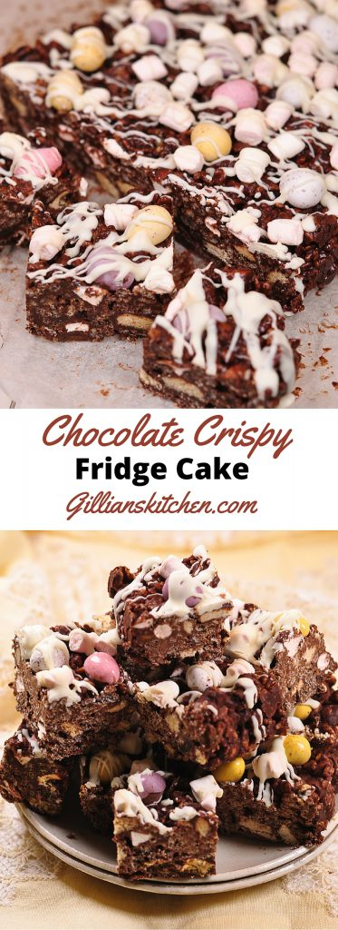 Chocolate Crispy Fridge Cake long pin
