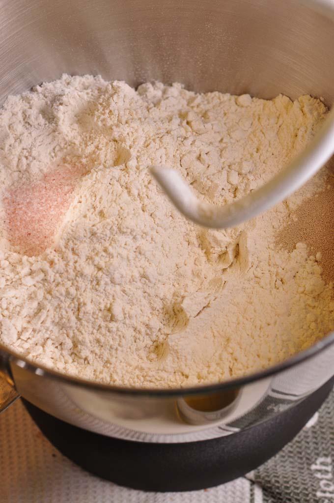pizza dough ingredients in mixer