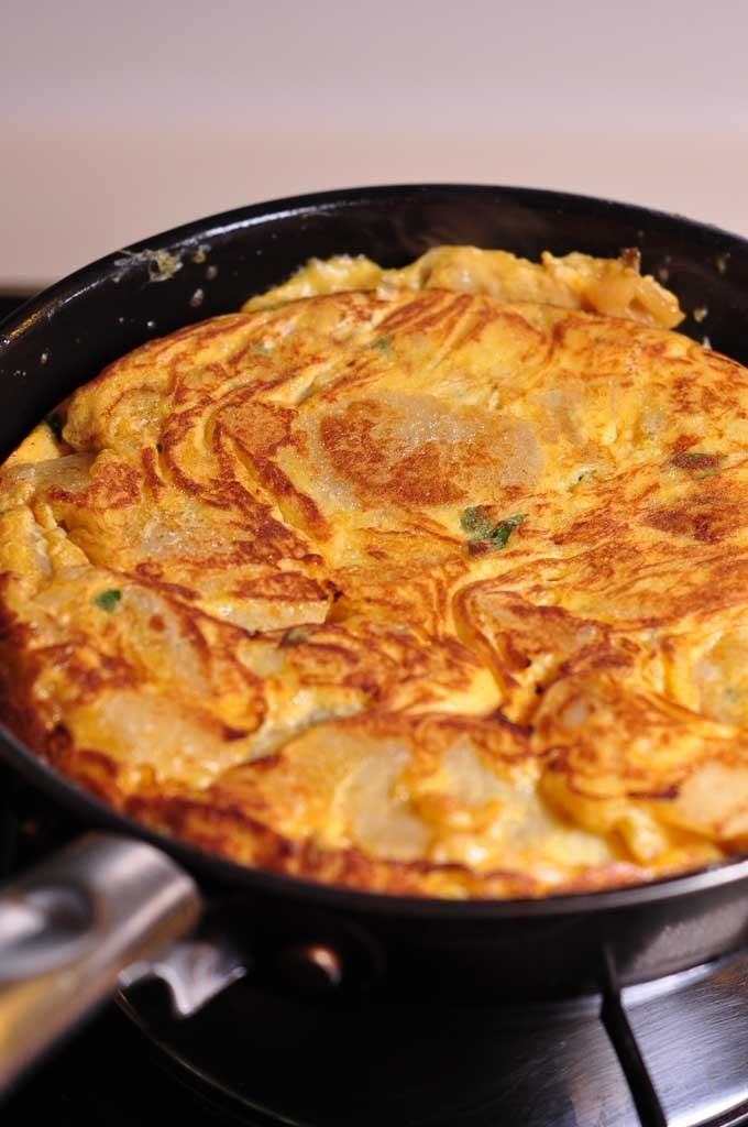 Spanish Tortilla in small frying pan