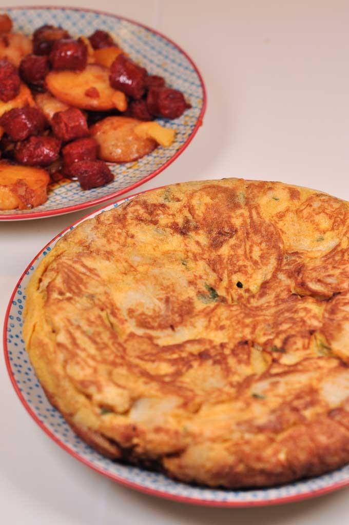 Spanish Tortilla with fried chorizo 2