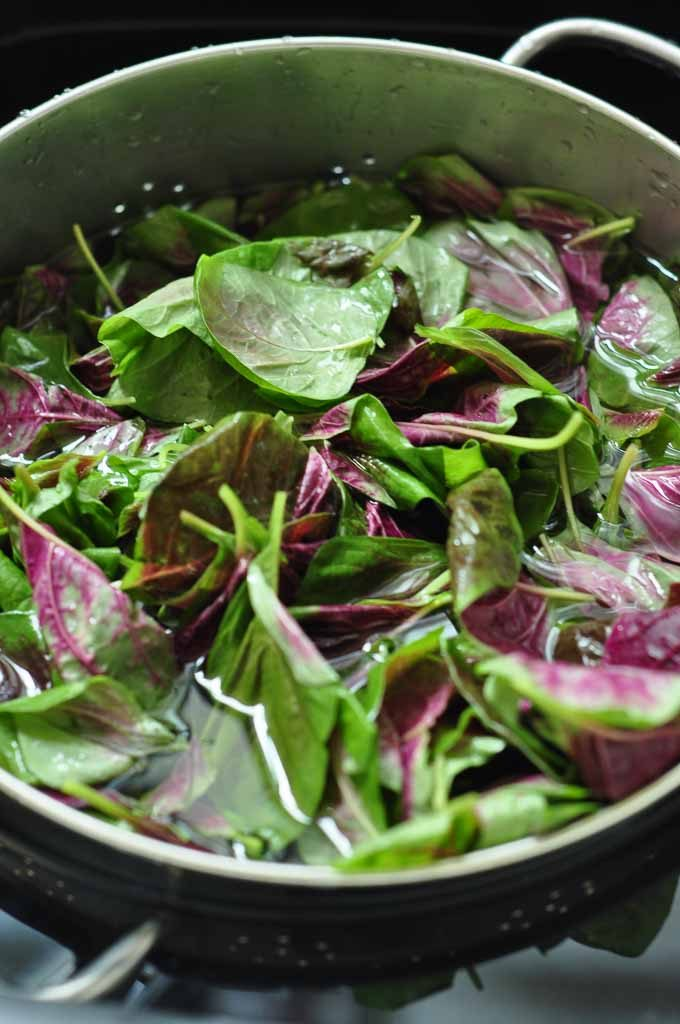 Chinese Purple Spinach and ricotta Gnocchi washing the spinach