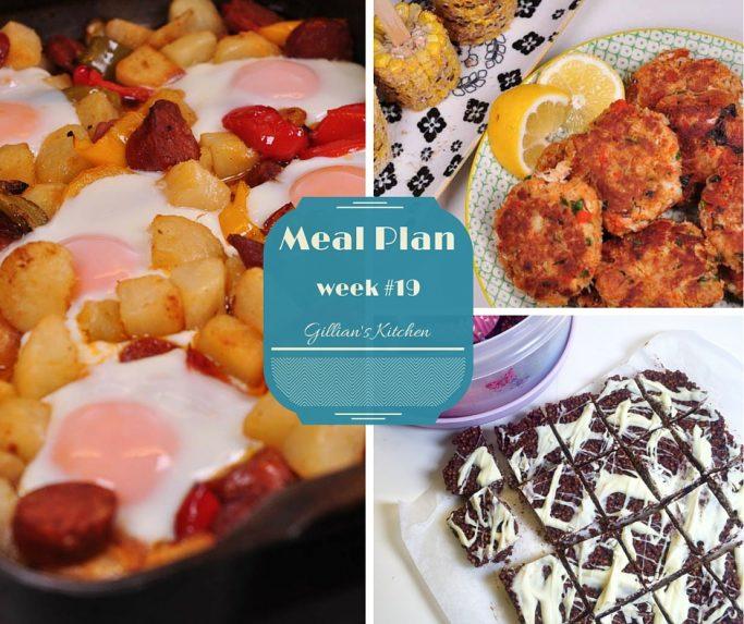 Collage of Weekly Meal Plan Week 19 recipes