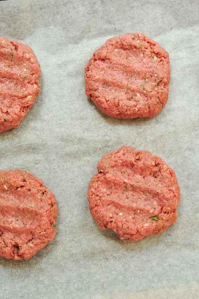 homemade burgers flattened