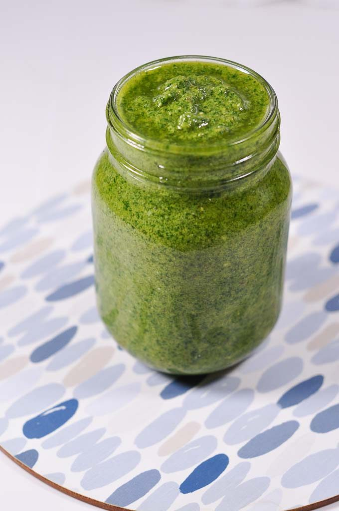 kale pesto in a jar