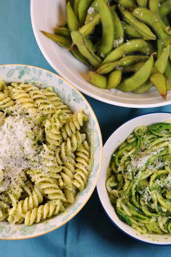 Fusilli with Kale pesto, edamame, courgetti