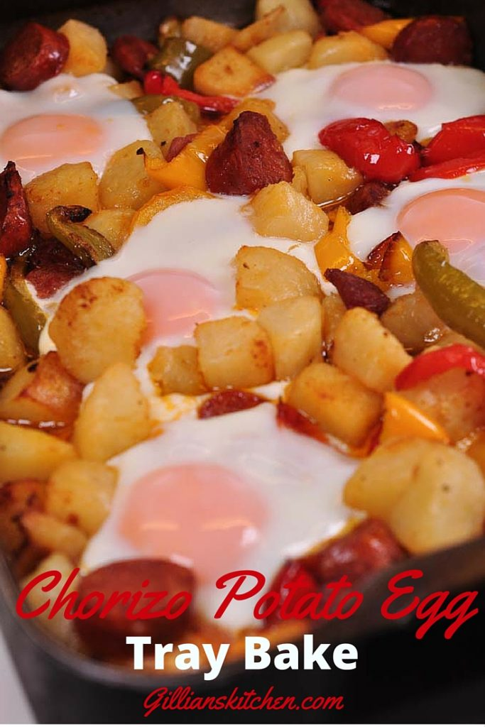 chorizo potato and egg tray bake pin