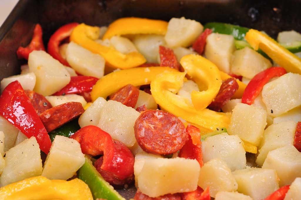 chorizo potato and egg tray bake ready for oven