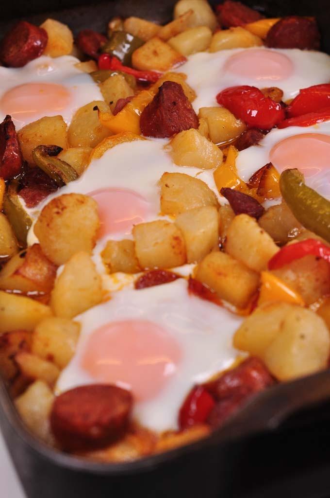 chorizo potato and egg tray bake cooked 2