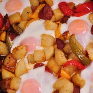 chorizo potato and egg tray bake cooked