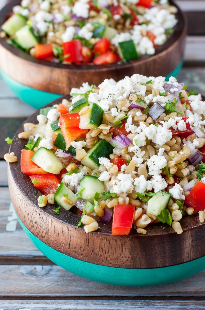 No Sandwich Packed Lunch ideas Greek Freekeh salad