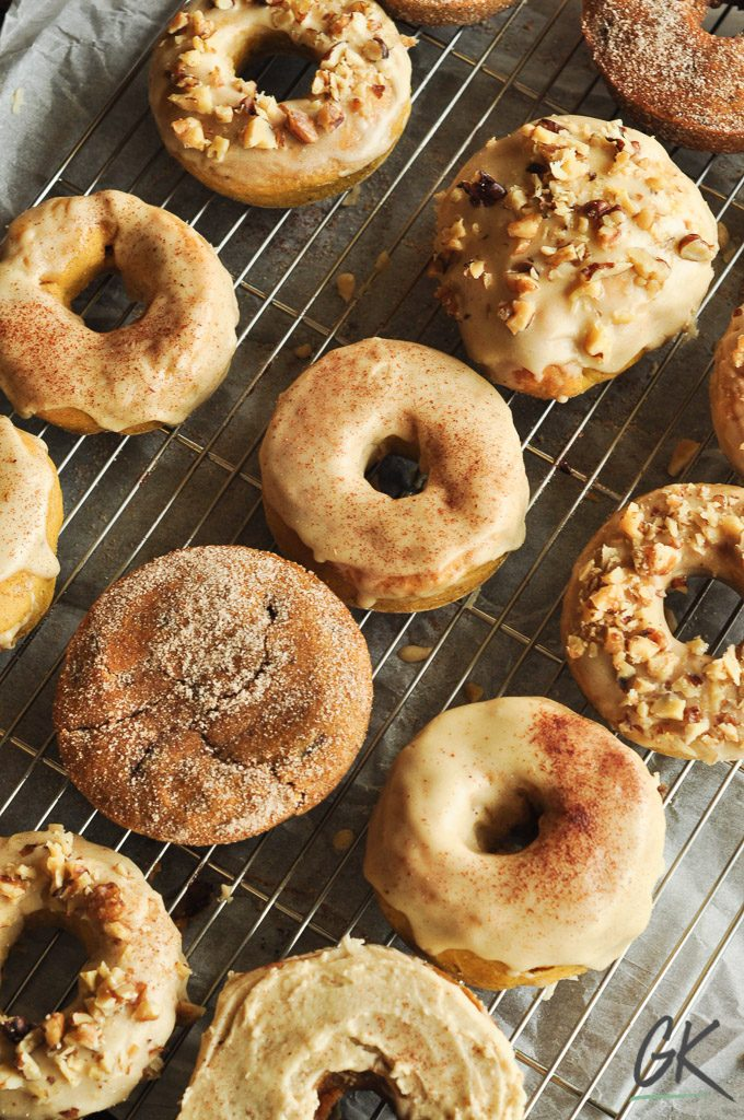 coffee glaze pumpkin doughnuts on cooling rack