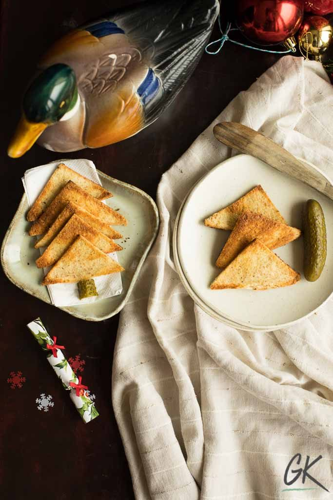 chicken liver pate spread with duck and melba toasts