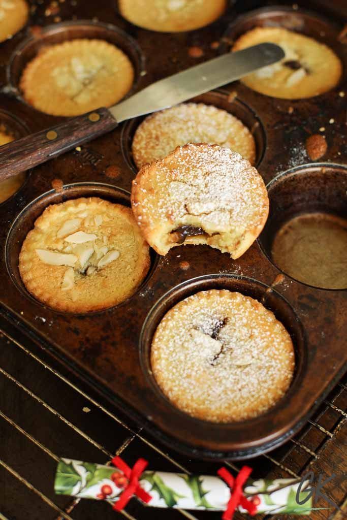 Frangipane Mince Pies in tray bite out