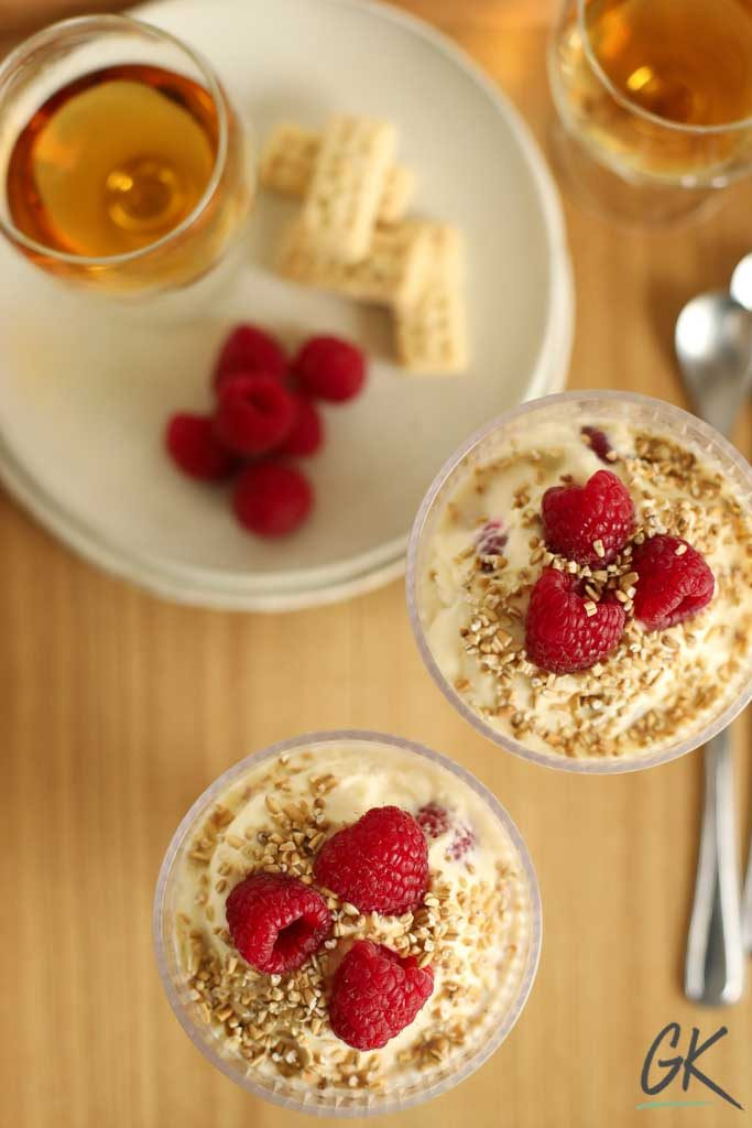 Raspberry Cranachan for two on tray