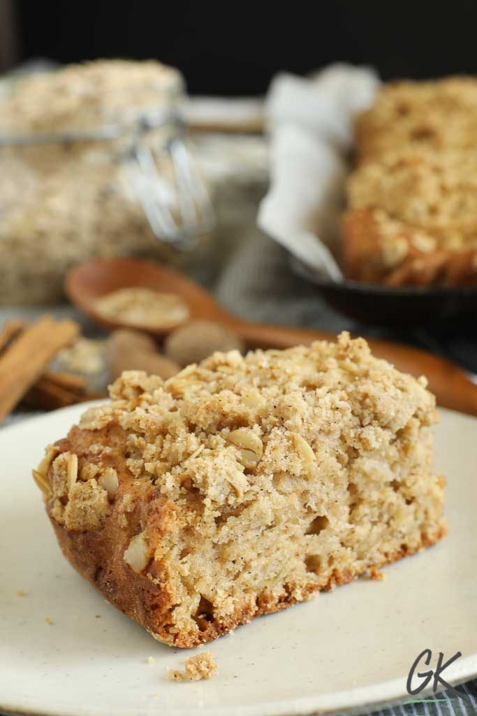 Apple Crumble Breakfast Muffin Tray Bake slice 2 - No sandwich packed lunches