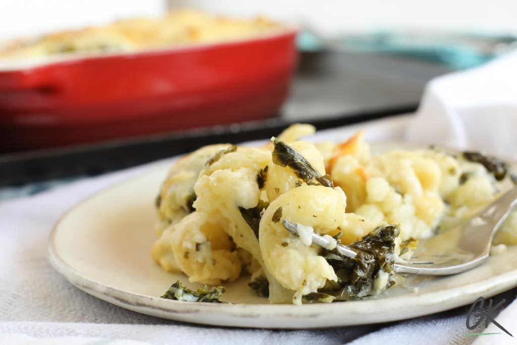 Cauliflower & Kale macaroni cheese on plate landscape
