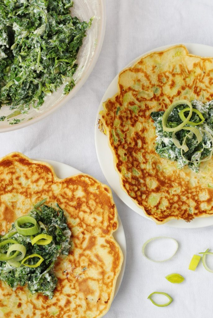Leek pancakes with spinach kale ricotta, weekly meal plan 9