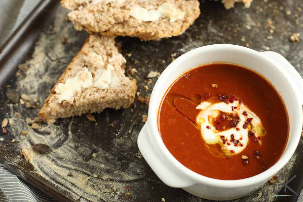 spiced roast red pepper and tomato soup landscape