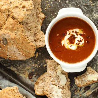 Spicy Roast Red Pepper and Tomato Soup