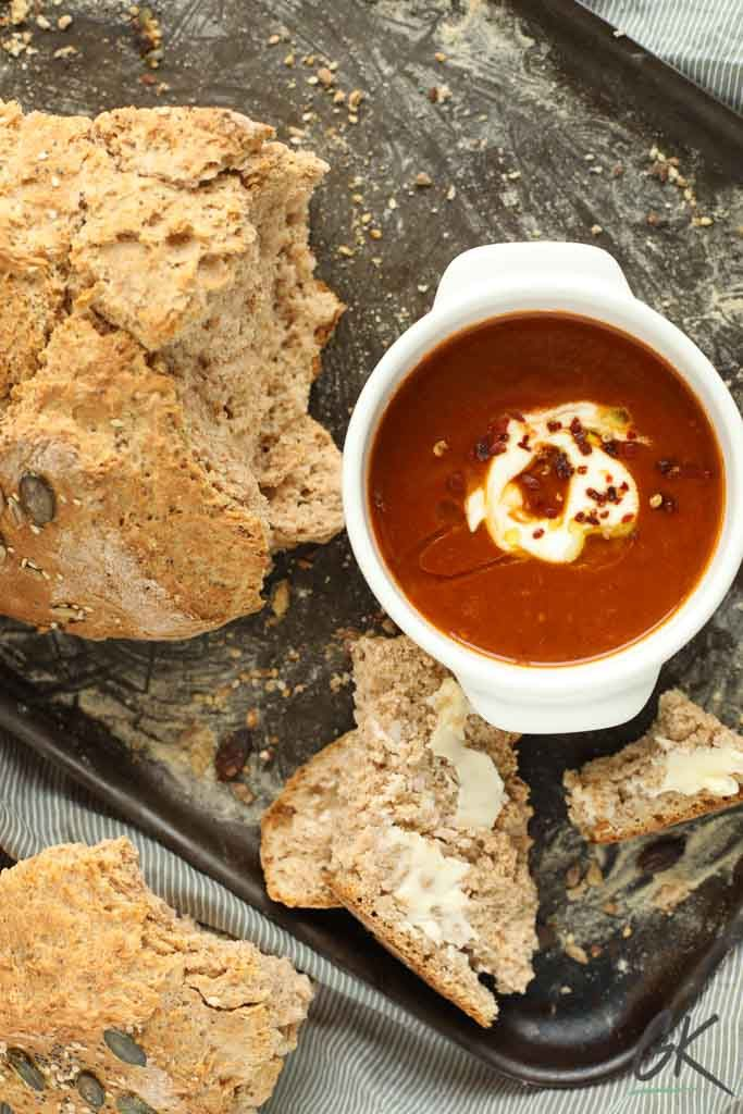 Traditional Irish Brown Soda Bread with Spiced Roast Pepper & Tomato Soup