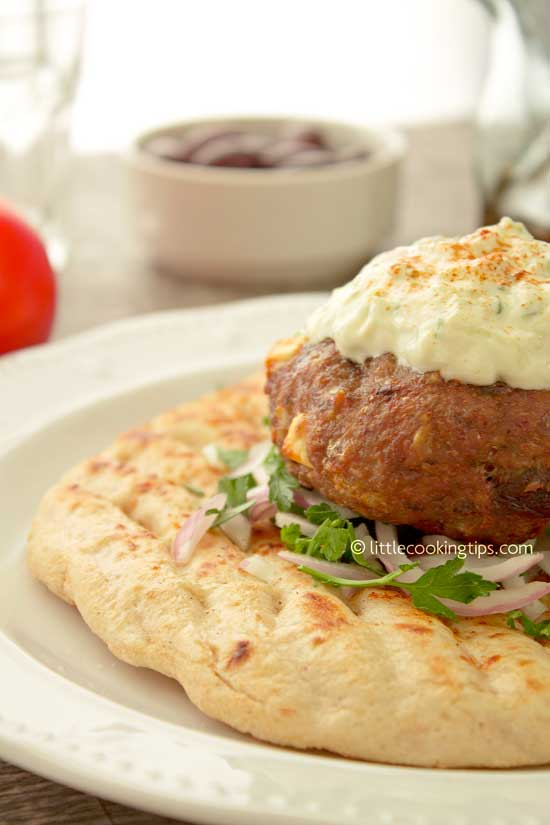 Greek burgers with feta and olive burgers