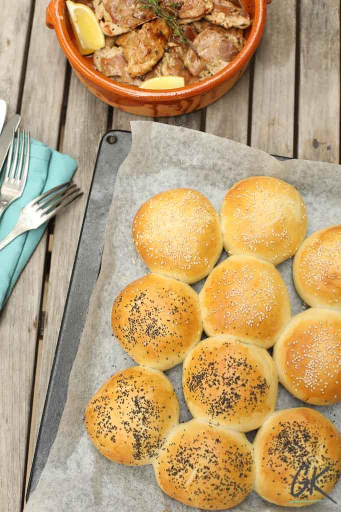 Golden Seeded Bread Rolls with saltimbocca