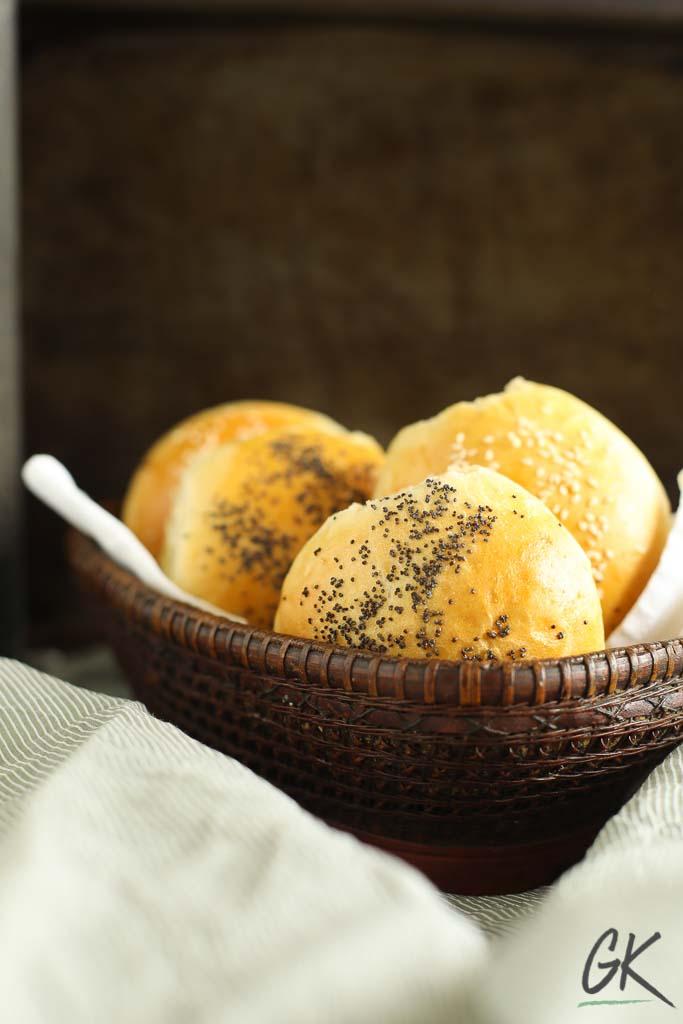 Golden Seeded Bread rolls in a basket 2