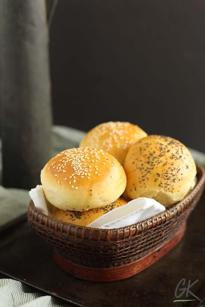 Golden Seeded Bread Rolls in a basket